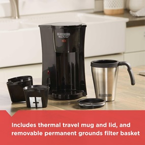 Includes thermal travel mug and lid, and removable permanent grounds filter basket | DCM18S