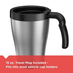 15 ounce travel mug included, fits into most vehicle cup holders | DCM18S