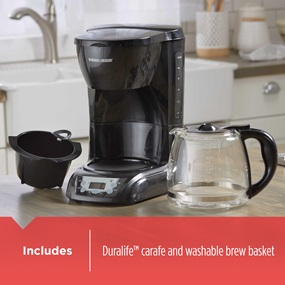 includes duralife carafe and removable brew basket dlx1050