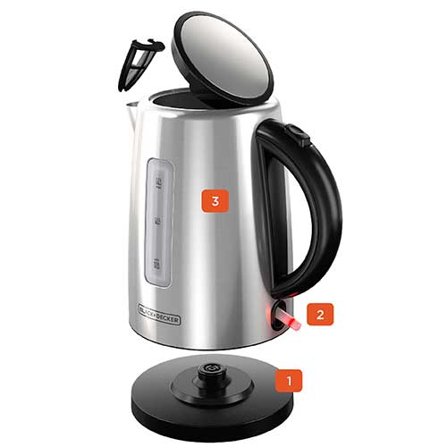Black+Decker 1.7L Electric Stainless Steel Kettle KE2000SD