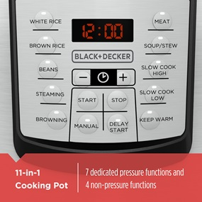 11-in-1 Cooking Pot with 7 dedicated pressure functions and 4 non-pressure functions PR100