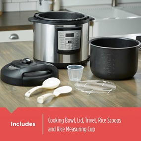 Includes cooking bowl, lid, trivet, rice spoons and rice measuring cup | PR100