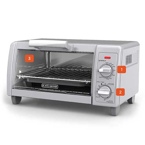 BLACK+DECKER™ TO1705SG 4-Slice Toaster Oven, Easy Controls