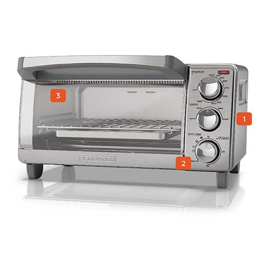 BLACK+DECKER™ TO1760SS 4-Slice Toaster Oven, Stainless Steel with Natural Convection