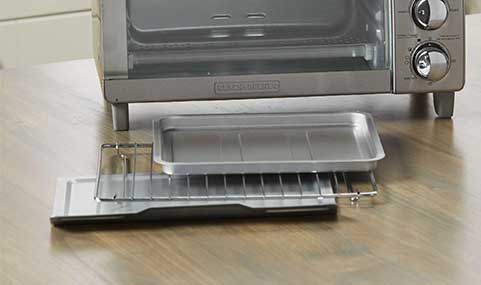 Includes bake pan, broil rack and crumb tray