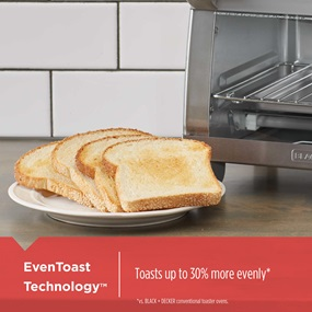 EvenToast Technology™ Toasts up to 30 percent more evenly