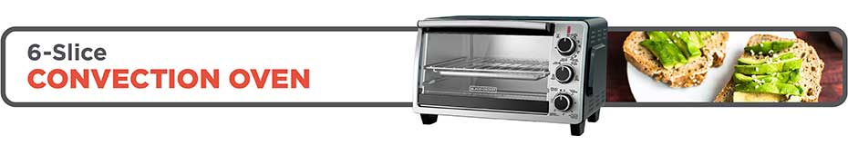 BLACK+DECKER™ 6-Slice Convection Oven, Stainless Steel, Black, TO1950SBD