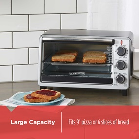Large capacity fits 9 inch pizza or 6 slices of bread