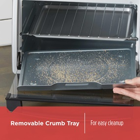 Removable crumb tray for easy cleanup