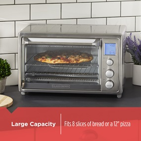Large Capacity fits 8 slices of bread or a 12 inch pizza