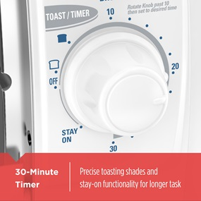 30 minute timer, precise toast shades and stay-on functionality tro420