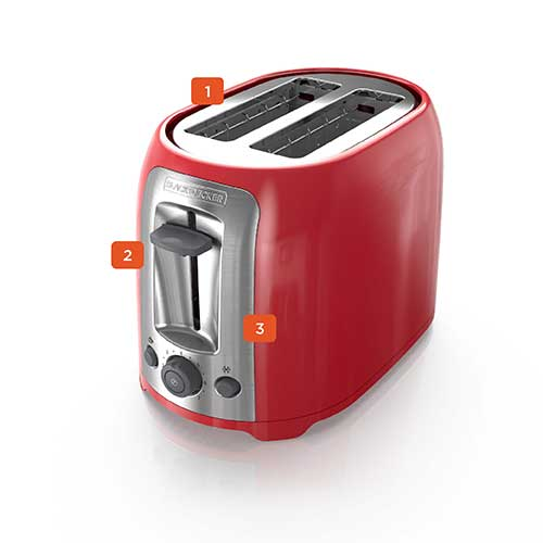 Red 2 Slice Toaster by Black and Decker