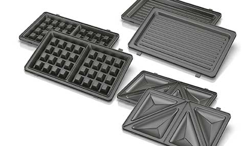 Black//Silver Compact Design or Sandwich Maker Grill BLACK+DECKER WM2000SD 3-in-1 Morning Meal Station Waffle