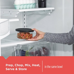 Prep, Chop, Mix, Heat, Serve and Store. In the same bowl