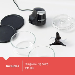 Includes. Two glass 4-cup bowls with lids