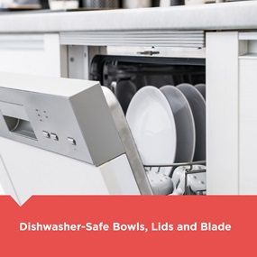 Dishwasher-Safe Bowls, Lids and Blade