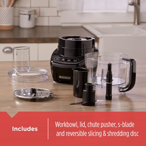 Includes workbowl, lid, chute pusher, s-blade and reversible slicing and shredding disc