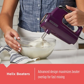Helix Beaters - Advanced design maximizes beater overlap for fast mixing.