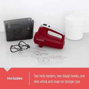 Includes - Two helix beaters, two dough hooks, one wire whisk and snap-on storage case.