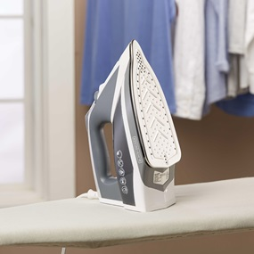BLACK+DECKER™ Vitessa™ Advanced Steam Iron with Stainless Steel Soleplate, IR2030 sitting on ironing board