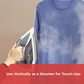 Use vertically as a steamer for touch-ups