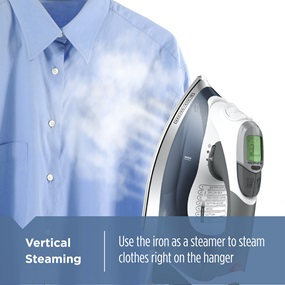 Vertical Steaming - Use the iron as a steamer to steam clothes right on the hanger