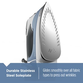 Durable Stainless Steel Soleplate - Glides smoothly over all fabric types to press out wrinkles
