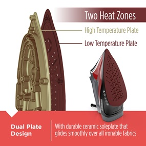Two Heat Zones - Dual Plate Design. With durable ceramic soleplate that glides smoothly over all ironable fabrics