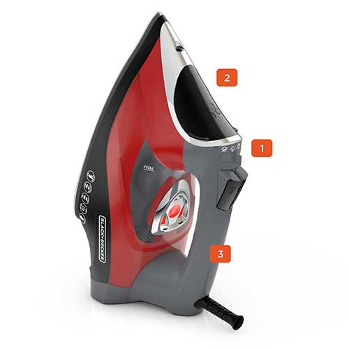 BLACK+DECKER™ Advanced Temperature Iron, Black/Red, D3500