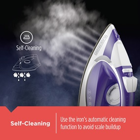 Self Cleaning - Use the iron's automatic cleaning function to avoid scale buildup