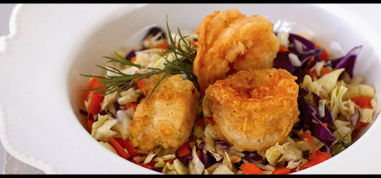Panfried Seafood Chopped Salad
