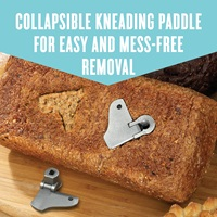 Collapsible kneading paddle for easy and mess-free removal