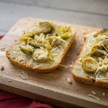Roasted Brussels Sprouts and Artichoke Toast