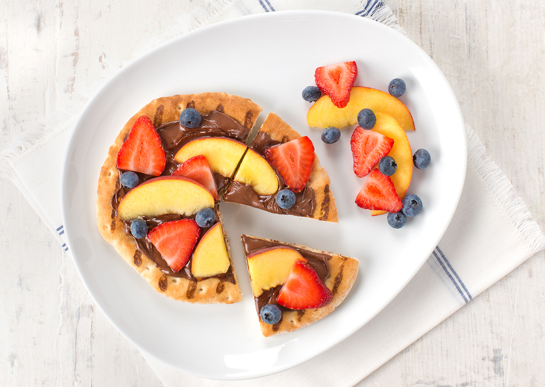 Chocolate and Fruit Pita Pizzas