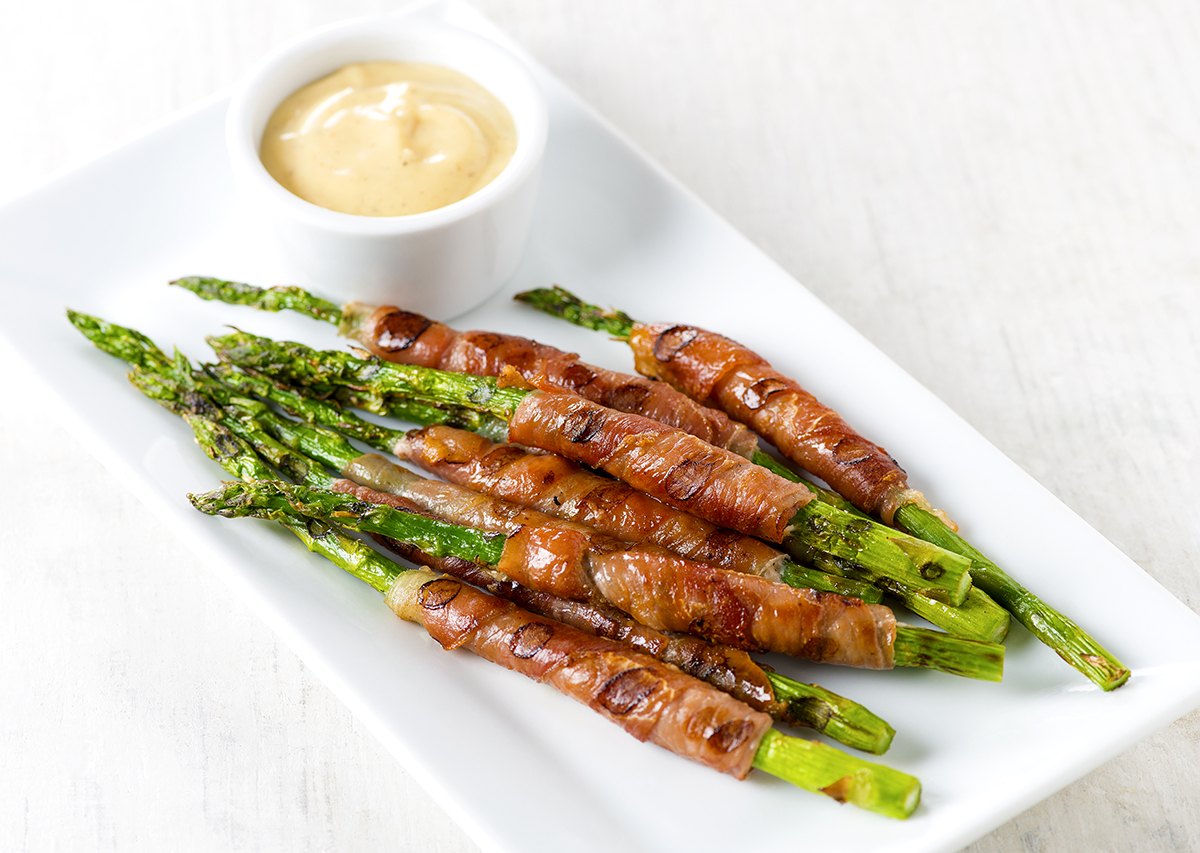 Prosciutto Wrapped Asparagus with Dijon Dipping Sauce