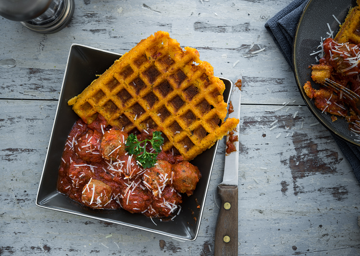 Whipped Goat Cheese and Polenta Waffles