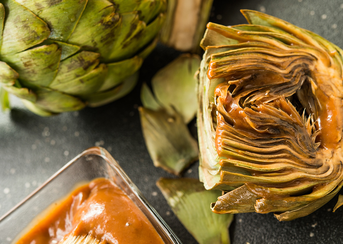 Grilled Artichokes with Mustered BBQ sauce