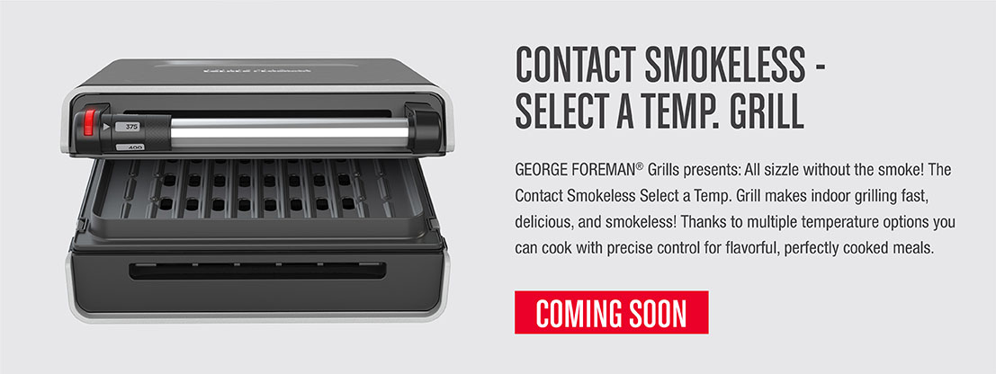 The Contact Smokeless Select a Temp Grill makes indoor grilling fast, delicious, and smokeless!