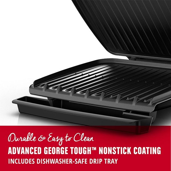 GR380FB 8-Serving Classic Plate Electric Indoor Grill and Panini Press with Nonstick Coating
