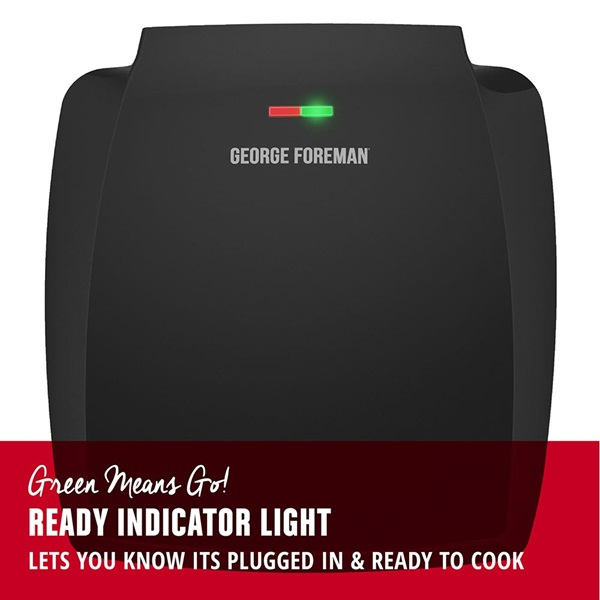 GR380FB 8-Serving Classic Plate Electric Indoor Grill and Panini Press with Ready Indicator Light