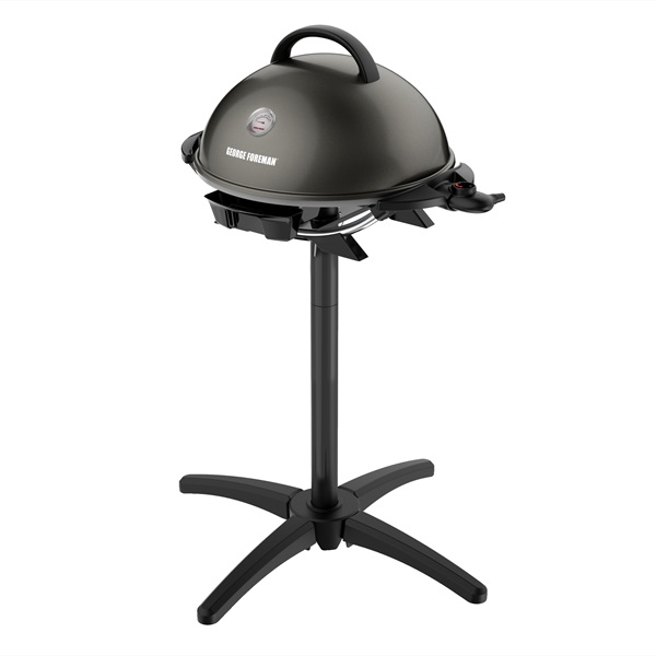 Indoor|Outdoor 15+ Serving Domed Electric Grill with Ceramic Plates & Bonus Grill Cover - Gun Metal