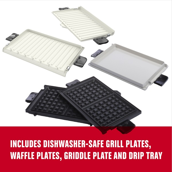 includes grill plates, waffle plates, griddle plate and drip plate