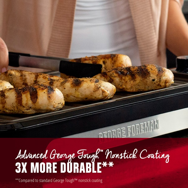 Advanced George Tough Nonstick Coating. 3 times more durable. Compared to standard George Tough nonstick coating
