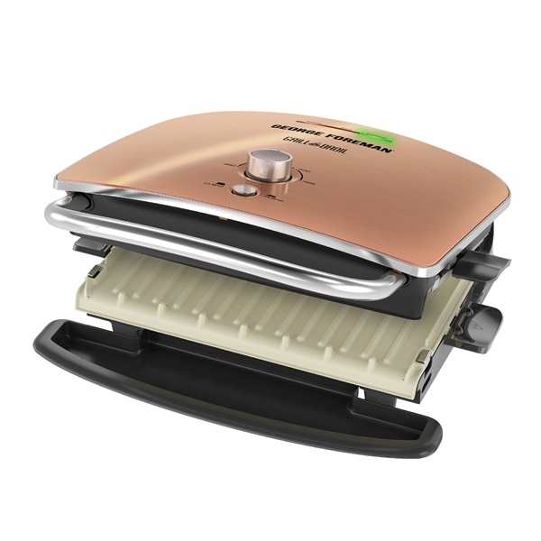 GRBV5130CUX Grill & Broil, 4-in-1 Electric Indoor Grill, Broiler, Panini Press, and Top Melter - Copper