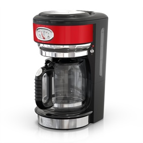 Retro Style 8-Cup Coffeemaker | Red & Stainless Steel