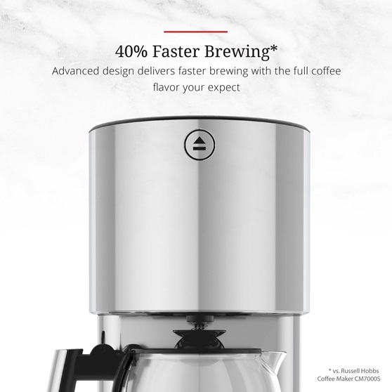 Stainless Steel 8-Cup Coffeemaker | Black Glass Accent | 40 percent faster