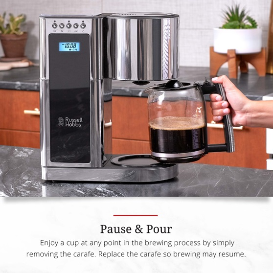 Stainless Steel 8-Cup Coffeemaker | Black Glass Accent | pause and pour