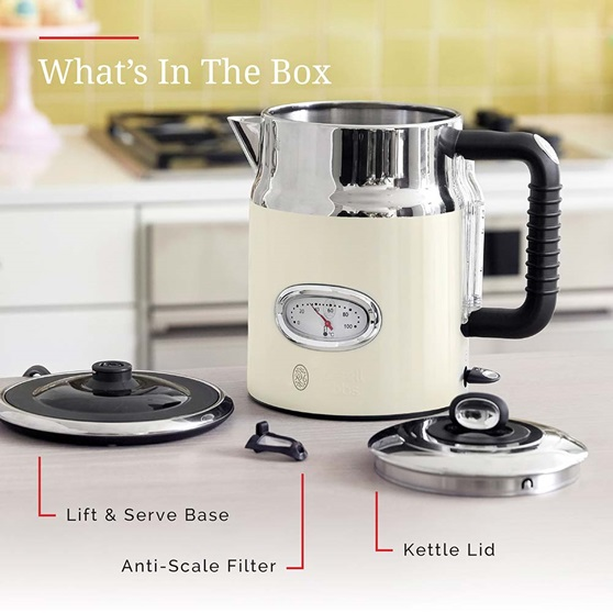 KE5550CRR Retro Style Electric Kettle in Cream - Whats In The Box
