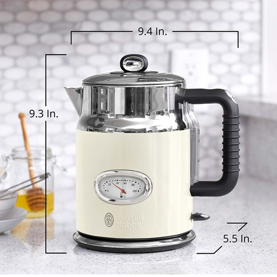 KE5550CRR Retro Style Electric Kettle in Cream - Product Scale Image