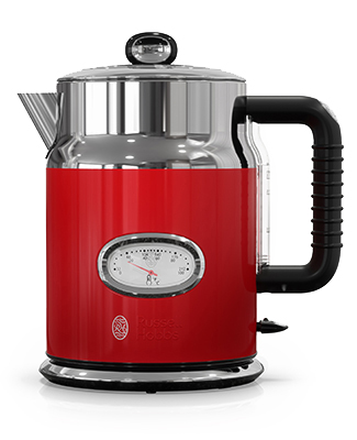 Retro Style 1.7L Electric Kettle | Red & Stainless Steel